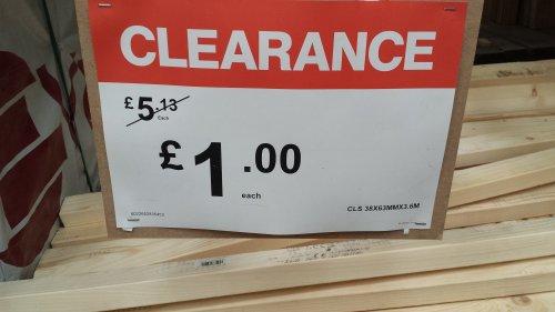 3.6m 21 cls timber - £1 @ B&Q