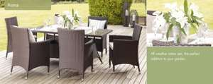 Roma 6 seater dining garden set with glass top table @ BHS Furniture