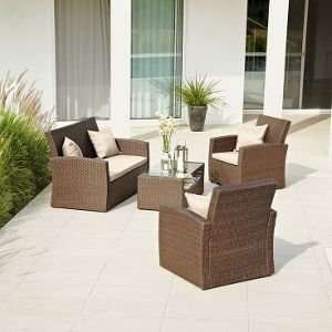 Homebase Rattan 4 seater patio set with cushions - £225.69