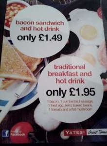 Breakfast and Hot Drink for £1.95 @ Yates