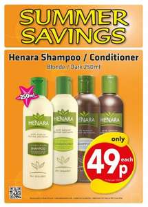 Henara Colour Enhancing Shampoo/Conditioner (250ml) For Blondes & Brunettes - Only 49p @ Savers...