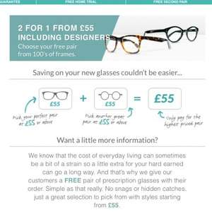 Glasses 2 for 1 from £55 enter code 50save to get half price again