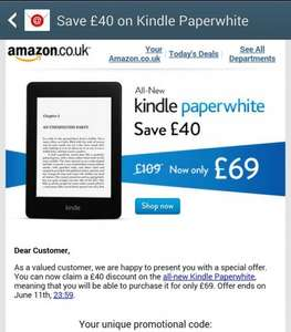 Get £40 off the all new Kindle Paperwhite £69.99 at Amazon