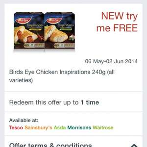 Free Birds eye chicken inspiration 240g & fish chargrilled 300g at checkoutsmart