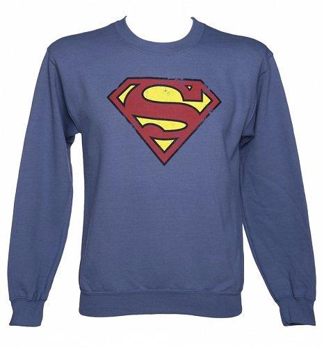 Men's Blue Distressed Superman Logo DC Comics Sweater  £13.99 at TruffleShuffle