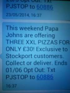3 XXL Pizzas at Papa John's Stockport for £30