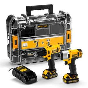 Dewalt DCZ211S2T 10.8V Drill Driver and Impact Driver Twinpack (2 x 1.5Ah Batteries) - TSTAK Kitbox. £142.45 plus free next day delivery, toolstop.co.uk