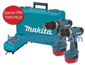 Makita 14.4v Twin Pack Cordless Drill Driver 6281DWPE + 8281DZ COMBI Hammer Drill + 2 Batteries and Charger for £124.99 @ Buyaparcel.com