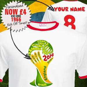 Personalised World Cup T Shirt reduced to £4 with fixtures @ YourDesign