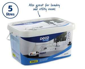 5 Litre White (only) Kitchen/Bathroom Paint at Aldi £9.99 from 12th June