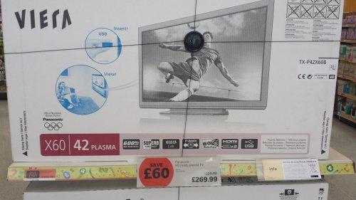 42 inch Panasonic TX-P42X60B Plasma TV £269.99 @ Sainsburys instore
