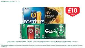 20 cans of Carlsberg, Strongbow, Fosters -  18 cans of John Smith's  - £10 each @ Morrisons