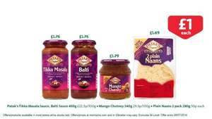 Pataks Various Curry Sauces, Naan Bread and Mango Chutney on offer for £1.00 at Morrisons and Tesco