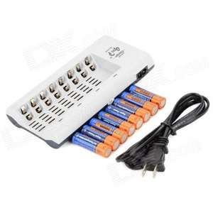 "GD 808A AA / AAA Battery Charger + 8 x Ni-MH AA ""3000mAH"" Batteries Set - £10.59 @ DX.com"