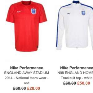 Yellow nike brazil shirt & Red England World Cup away shirt official / genuine £28 delivered at zalando + 8% quidco (£32 for nike England home shirt)