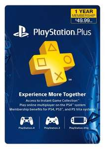 1 Year of Playstation Plus $39.99/£25.23 @ Amazon.com (Instant delivery digital code)