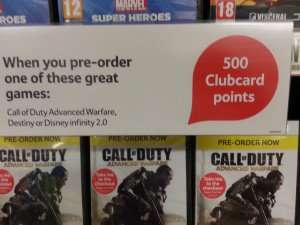 Earn 10,000 Tesco Clubcard points on £100 spend (worth up to £400 with clubcard boost) using instore £5 game pre-order deal @ Tesco instore