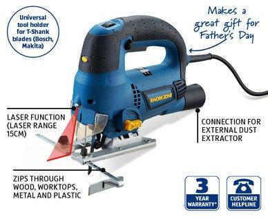 800W Jig Saw with Laser, LED Work Light, 3 Blades, 3yr Warranty £19.99 - ALDI
