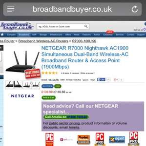 Netgear R7000 AC1900 Nighthawk Router/Access Point £139.99 @ Broadbandbuyer