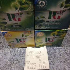 20 PG tips new range tea bags, pure green/refreshing peppermint/delicate camomile/zesty lemon - 30p instore @ Co-Operative