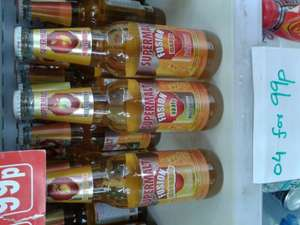 4 x 330ml Bottles of new Supermalt Fusion Fruit Juices ('Various') for 99p at Sams 99p store Illford essex