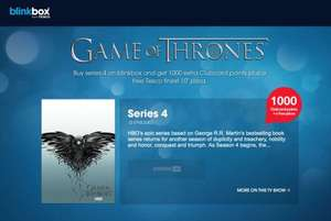 Game of thrones season 4 £17.99 1000 ClubCard points (Worth £40 in deals) + FREE 10'' Tesco Finest Pizza + Possible £4 Quidco and £5 Credit when deposting £1 @ Blinkbox