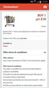 Spend £30 in Tesco and get £10 back via checkoutsmart app