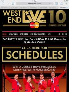 West end live Trafalgar Square, This weekend, (21st & 22nd june)