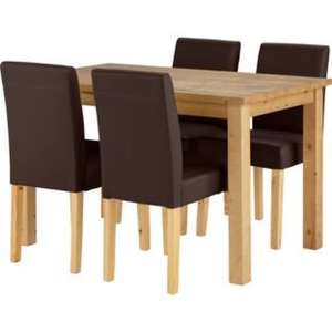 Madison Oak Stain Dining Table and 4 Chocolate Chairs.   £160 @ Argos