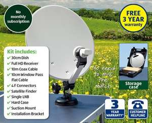 HD Portable Satellite Kit 12/230V (Camping/caravan/motorhome etc) £59.99 at Aldi from Thursday