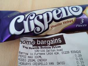 Cadbury Crispello Bars (dated) only 10p in store at Home Bargains!