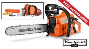"Woodfield 61.5cc Petrol Chainsaw 20""(50cm) Blade 2.4kW with Oregon ® Chain & Bar, safety kit,blade cover and chainsaw bag,tools,oil & 2 year warranty,£89.99@primrose_london_uk(ebay shop)"