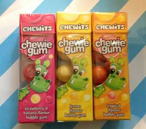 Chewits Chewie Gum Lemon, Strawberry & Banana and Tropical flavours 19p each @ Home Bargains