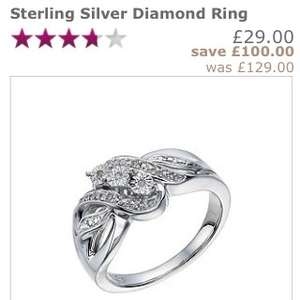 Sterling silver diamond ring £29 @ H Samuel