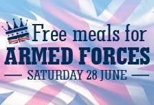 Armed forces eat for free on Saturday 28 June @ crown carveries