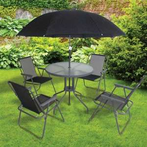 6 peace SEVILLE BLACK GARDEN PATIO SET £69.99 + free delivery (over £25) instore and online (poundstretcher)