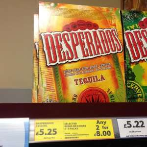 Desperados 6 bottles for £8 at tesco