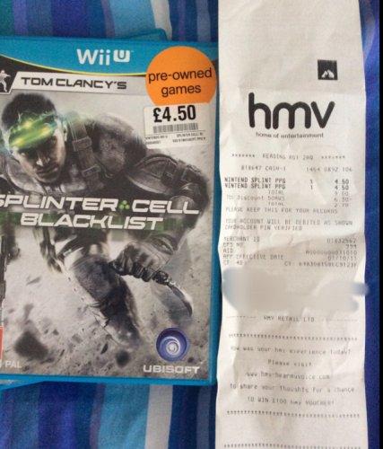 Splinter Cell Blacklist Wii U £1.35 at HMV