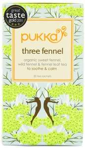 Pukka Three Fennel tea 4 packs (20 enveloped teabags in each) for just £2.25 with free delivery (£10 spend/add on item) @ Amazon.co.uk