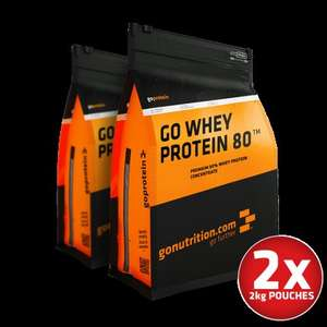 Whey Protein 80 2 x 2kg £45 @ GoNutrition (Free del >£50)