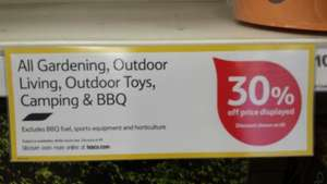 30% off Gardening, Outdoor Living, Outdoor Toys, Camping and BBQ at Tesco