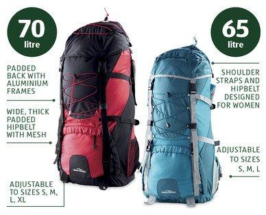 65/70 litre Trekking Backpack travel bag £19.99 from THURSDAY 26.6, ALDI
