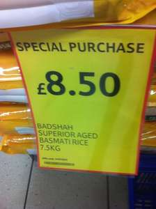 BADSHAH SUPERIOR AGED BASMATI RICE 7.5KG for £7.45 @ Tesco
