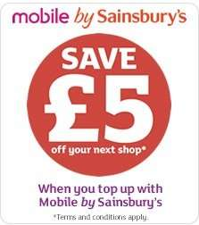£5 shopping voucher if you buy £10 sainsbury's mobile top up.