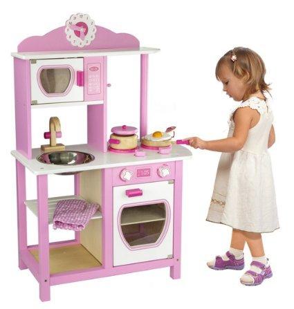 Viga Little Chef Wooden Kitchen in Pink and White  £52.93 @ Amazon/ activeleisure.