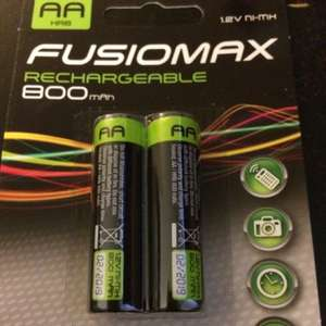AA and AAA fusion 800mAh rechargeable batteries £1 for 2 @ Poundland