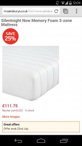 Silentnight Now Memory Foam 3-zone Mattress, Double £141.75 @ Sainsburys