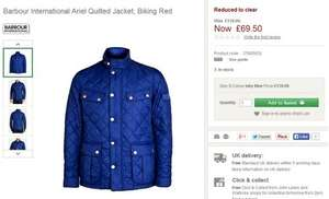 Barbour International Ariel Quilted Jacket, RED Size Small only (3 in stock) @ JOHNLEWIS for now £69.00 was £139.00 (50% off)