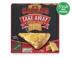 £2.49 475g Carlos Takeaway Stuffed Crust Cheese Feast Pizza (with dip) fresh, not frozen @ Aldi
