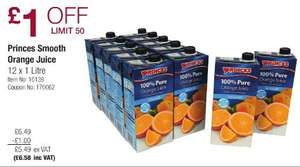 Princes Smooth Orange Juice (12x1L) £6.58 (Inc VAT) @ Costco